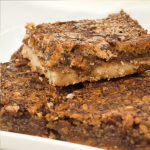 Our new pecan pie bars -- a toasted pecan shortbread topped with an ooey gooey layer of pecan pie filling.