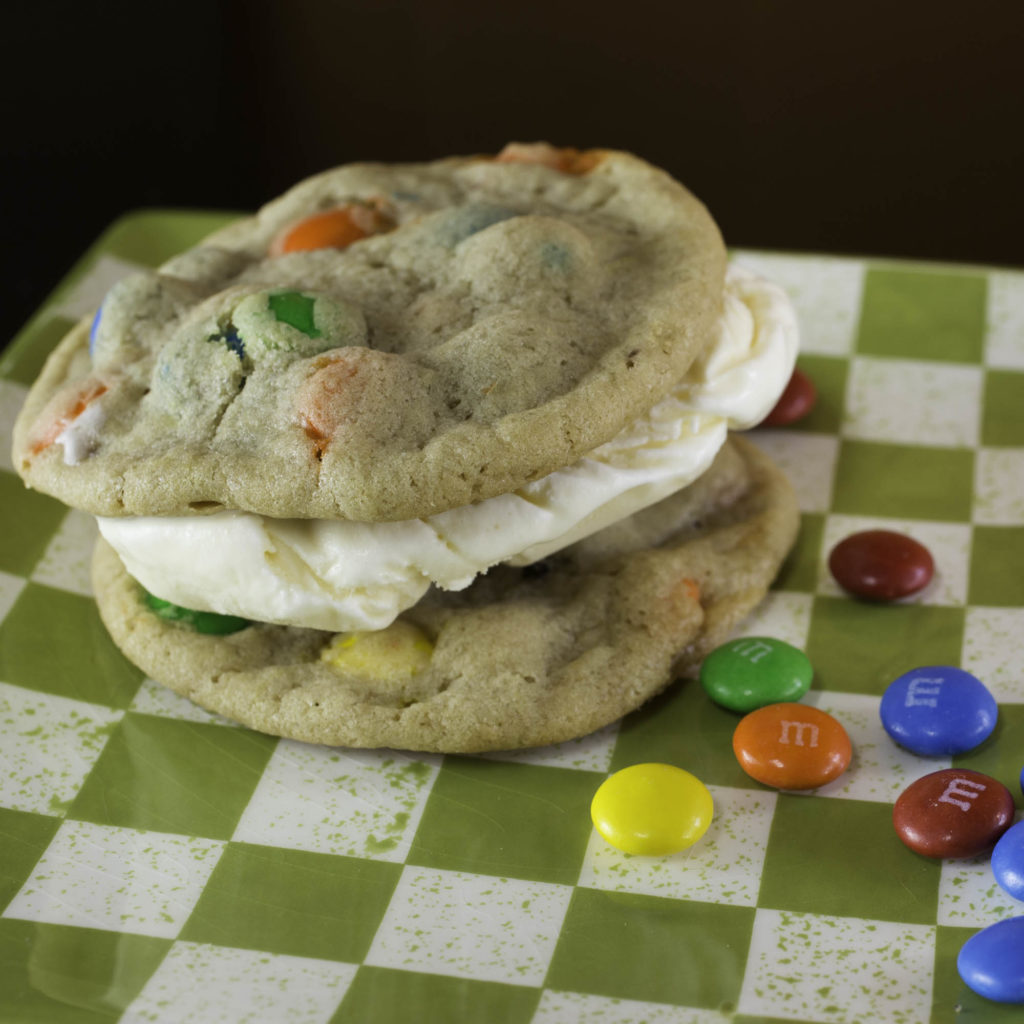 M&M ice cream cookie sandwich
